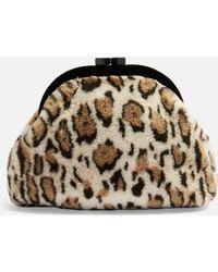 TOPSHOP - Alexa Leopard Print Faux Fur Pouch - Lyst
