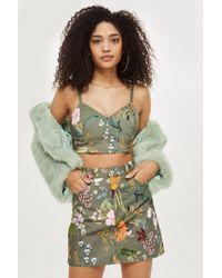 TOPSHOP - Hawaiian Print Denim Mini Skirt - Lyst