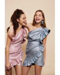 TOPSHOP - One Shoulder Textured Mini Dress - Lyst