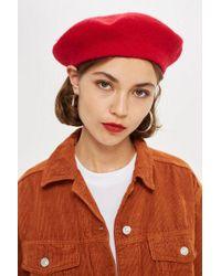 Topshop Yellow Plain Beret Hat in Yellow - Lyst 5b668d438dac