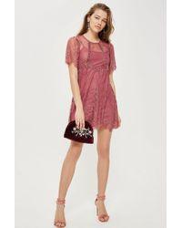 TOPSHOP - Petite Velvet Trim Lace Flippy Dress - Lyst