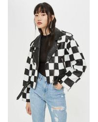 TOPSHOP - Checkerboard Leather Biker Jacket - Lyst