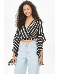 Love - frill Sleeve V-neck Crop Top By - Lyst