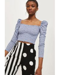 6f78eefb682 TOPSHOP Lace Bardot Crop Top in Blue - Lyst
