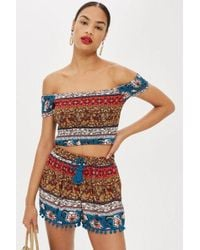 TOPSHOP - Printed Bardot Top By Band Of Gypsies - Lyst