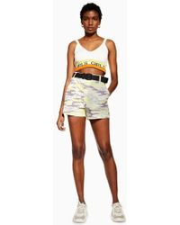TOPSHOP - Belted Camouflage Shorts - Lyst