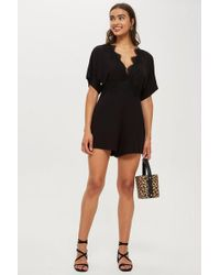 TOPSHOP - Tall Lace Plunge Playsuit - Lyst