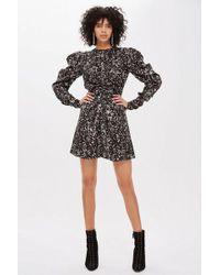 TOPSHOP - Monochrome Daisy Ruched Mini Dress - Lyst