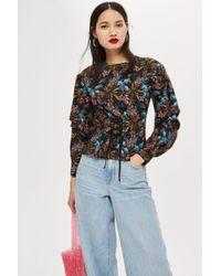 TOPSHOP - Floral Print Corset Blouse - Lyst