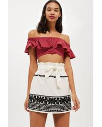 TOPSHOP - Embroidered Paper Bag Skirt - Lyst