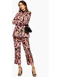 TOPSHOP - Animal Jacquard Trousers - Lyst