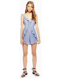 TOPSHOP - Ruffle Playsuit With Linen - Lyst