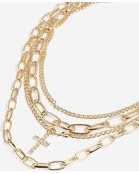 TOPSHOP - Charm Multirow Necklace - Lyst