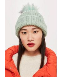 768a1772d3b TOPSHOP - Knit Beanie With Fur Pom - Lyst