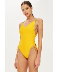 TOPSHOP - Ribbed Eyelet Detail Swimsuit - Lyst