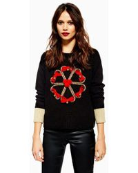 TOPSHOP - Christmas Candy Cane Wreath Jumper - Lyst