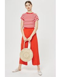 TOPSHOP - Striped Roll Sleeve T-shirt - Lyst