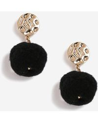 TOPSHOP - Beaten Disc And Pom Pom Drop Earrings - Lyst