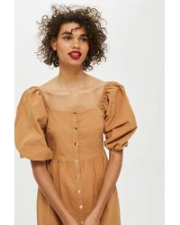 TOPSHOP - Seersucker Button Smock Dress - Lyst