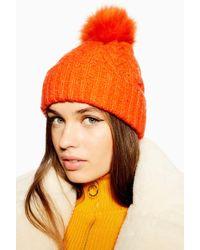 e787dc42e07 Lyst - TOPSHOP Faux Fur Pom Beanie Hat in Pink