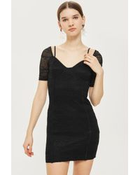 TOPSHOP - Sweetheart Neck Lace Mini Bodycon Dress - Lyst