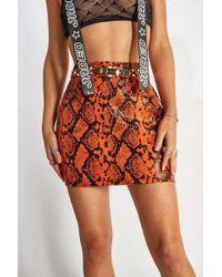 Jaded London - snake Pu Skirt By - Lyst