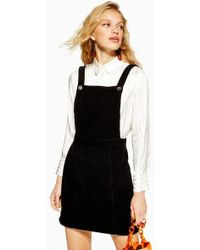 TOPSHOP - Horn Button Corduroy Pinafore Dress - Lyst