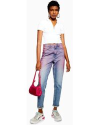 TOPSHOP - Pink Ombre Mom Jeans - Lyst