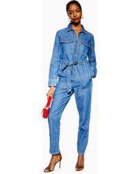 TOPSHOP - Combi-short ample style militaire en jean Grande - Lyst