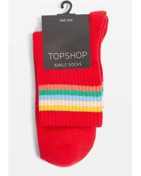 TOPSHOP - Rainbow Tube Socks - Lyst