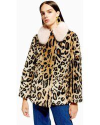 TOPSHOP - Petite Leopard Faux Fur Coat - Lyst