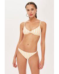 a4192118aa Lyst - Topshop Floral Frill Bikini Bottoms in Black