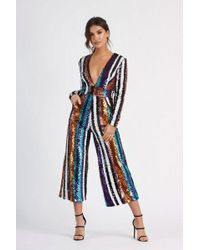 7816f1a81c8a Club L - stripe Sequin Plunge Jumpsuit By - Lyst