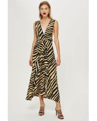 TOPSHOP - Petite Sand Zebra Pinafore Dress - Lyst