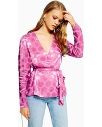 4bfda63d26eba4 Lyst - TOPSHOP Floral Jacquard Wrap Top in Pink