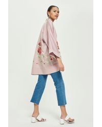 TOPSHOP - Tall Blossom Embroidered Kimono - Lyst