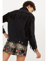 TOPSHOP - Petite Studded Oversized Denim Jacket - Lyst