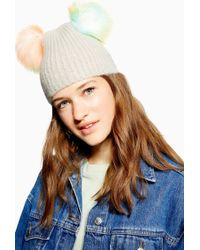 TOPSHOP - Grey Beanie With Multicoloured Faux Fur Pom - Lyst c146e420c8a3