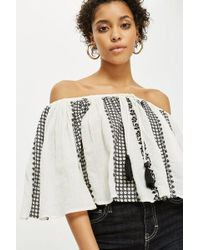 TOPSHOP - Embroidered Bardot Top - Lyst