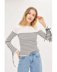 TOPSHOP - Petite Eyelet Sleeve Knitted Jumper - Lyst