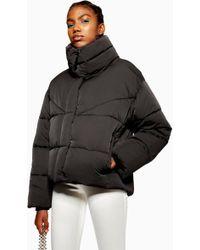 c9d5936f2eef TOPSHOP Monochrome Ski Puffer Jacket - Lyst