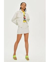 TOPSHOP - Polka Dot Cropped Denim Jacket - Lyst