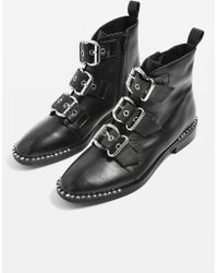 TOPSHOP - Buckle Boots - Lyst