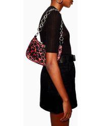 TOPSHOP - Lana Leopard Print Diamante Shoulder Bag - Lyst