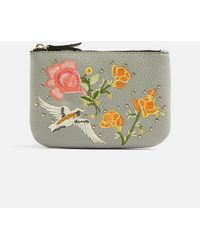TOPSHOP - Stone Holly Bird Embroidered Zip Top Purse - Lyst