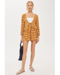 TOPSHOP - Embriodered Crinkle Shorts - Lyst