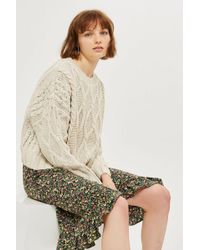 TOPSHOP - Tall Cable Knit Crop Jumper - Lyst