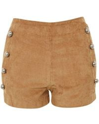Wyldr - Stevie Tan Corduroy Double Breasted Shorts By - Lyst