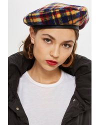 TOPSHOP - Brushed Check Beret - Lyst