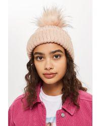 ae79a6b645b Lyst - TOPSHOP Faux Fur Pom-pom Beanie Hat in Pink